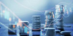 Konjunkturbarometer: Gestapelte Münzen, angeordnet, wie ein aufsteigendes Diagramm
