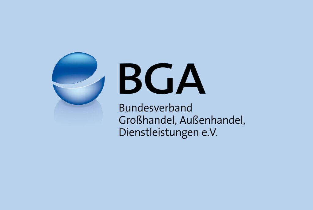 BGA-Logo mit Namenszug und Hintergrund