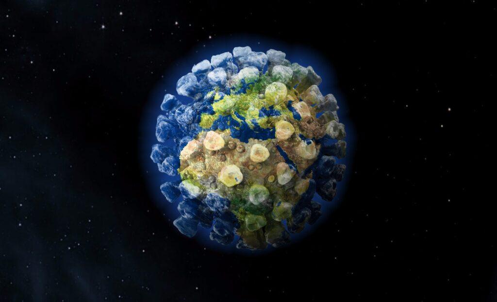 Corona virus, globe, earth, pandemic, background, epidemic, computer graphic.